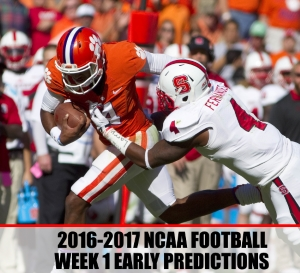 College Football Week 1 Early Predictions