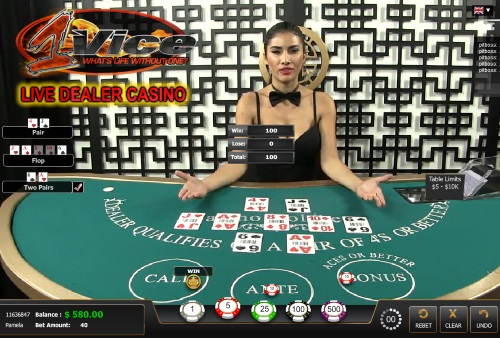 1Vice Live Dealer Casino Screenshot